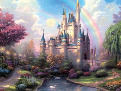 SJOLOON 8x8ft classical colored rainbow castle photo background cartoon newborn photography backdrops for studio thin vinyl